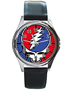 Dude Custom Gratleful dead Men's Black leather watch round black custom watches Perfect Gift for men and women