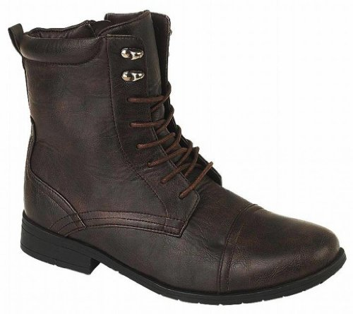 US Brass Men's Harley Fashion Combat Military Style Distressed Look Lace Up Boot brown UK 8