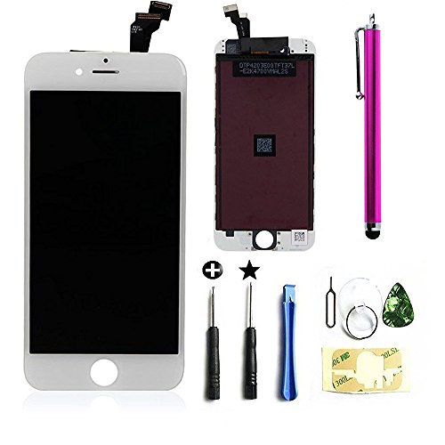 Cococka LCD Touch Screen Digitizer Frame Replacement Assembly Full Set for iPhone 6 - 4.7inch - White (Iphone 4 Replacement Camera Front compare prices)