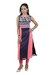 Kittus Fashion House Women's Crepe Straight Kurti (Kskrt-1082_Blue_X-Large)