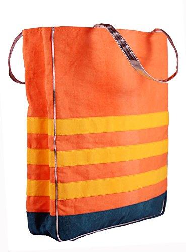 Harp Color Block Tote Stripe Bag (Orange)