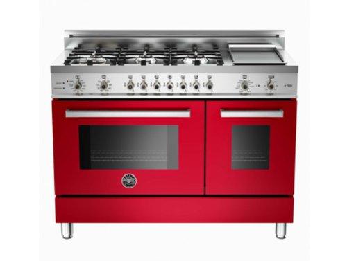 Pro486Gdfsro | Bertazzoni Professional 48 Dual Fuel Range, Natural Gas - Rosso Red