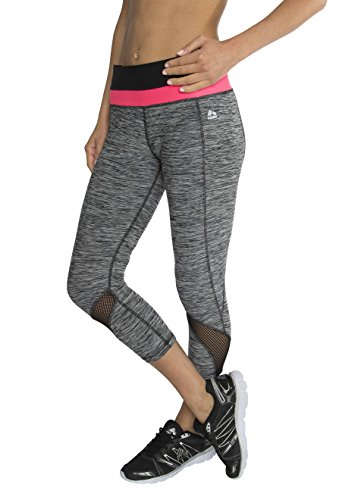 RBX Active Women's Striated Mesh Ventilated Capri Leggings,Black / Hot Pink Waistband,Medium (Mustache Spandex Sheer Pantyhose)