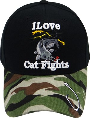 Catfish Fishing Hat, I Love Cat Fights, Baseball Cap with Hook and Raised Embroidered Letters Camouflage/ Camo Fishing Hat with Catfish, Adjustable to Fit Most Men, Women and Teen Head Sizes, Fishing Headwear, Cats Ole Wiskers