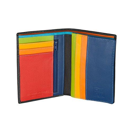 Portafoglio da uomo a libro in pelle multicolore con lampo DUDU Nero