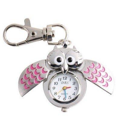 Orrorr Búho rosado de plata Steampunk Modern Pocket Cadena de reloj de cuarzo reloj colgante