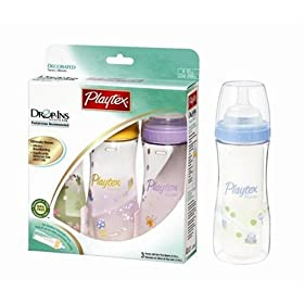 Playtex Drop-Ins Premium Decorated BPA Free Nurser - 3 Pack