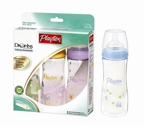 Playtex Drop-Ins Premium Decorated BPA Free 3 Pack Nurser, 8 Ounce, Colors May Vary