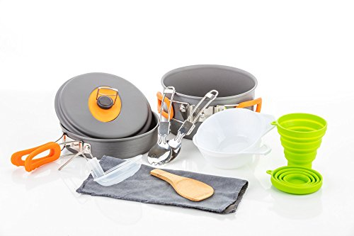 Camping Cookware Survival Mess Kit - 13 Piece Cookware Set by Outdoor Anywhere - Backpacking Hiking Outdoors Cooking Equipment Gear - Compact Hard Anodized Aluminum Pot Pan Bowl With Silicone Handles (Rv Kitchen Kit compare prices)