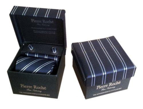 Pierre Roché Mens Tie, Handkerchief & Cufflink Set, Navy With Stripe Knitting In A Gift Box