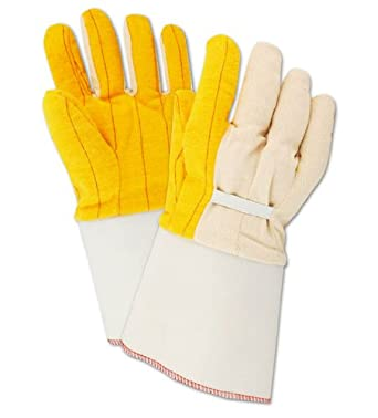 Magid 64EG MultiMaster Cotton Poly Double Palm Canvas Chore Glove with Gauntlet Cuff, Work, Men Size, Golden Fleece (Case of 12)