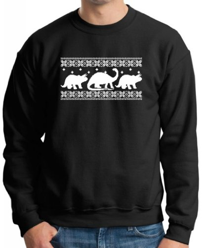 Dinosaur Pattern Faux Ugly Christmas Sweater Premium Crewneck Sweatshirt Medium Black