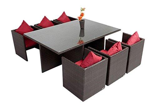 Outflexx Möbel Tisch inklusive 6 unterschiebbare Stühl Polyrattan w3, braun
