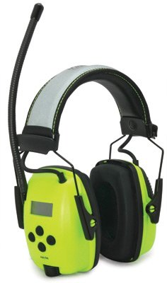Howard Leight by Honeywell 1010390 Hi-Vis Radio and MP3 Ear Muff, bright green with reflective headband, 1-Pair picture