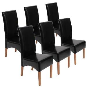 Lot de 6 chaises latina salle manger cuir reconstitu - Chaise cuir noir salle manger ...