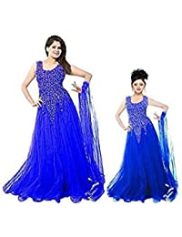 SKY GLOBAL Women's Net Embroidered Semi-Stitched Gown For Women And Girls ( Combo Of 2) (Sky_Gown_1012) (Sky_Kids...