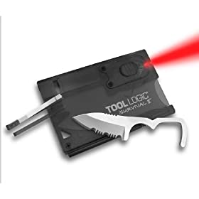 Tool Logic SVC2 Survival Card Tool With 1/2 Serrated Knife, Fire Starter, Whistle, Red LED Flashlight, Translucent Black
