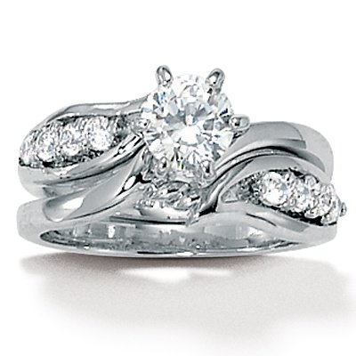 Palm Beach Jewelry - Sterling Silver Round Cubic Zirconia Wedding Ring Set