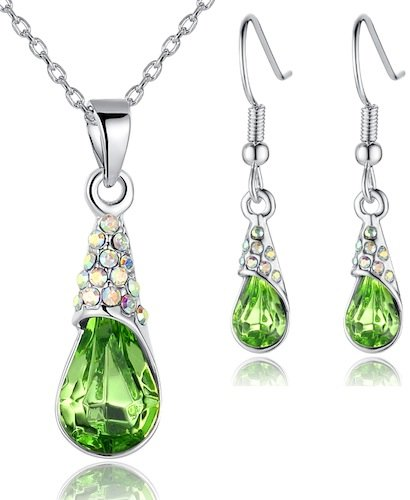 Arco Iris Raindrop Swarovski Elements Crystal Pendant Necklace and Earrings Set for Women W White Gold Plated Chain Various Colors