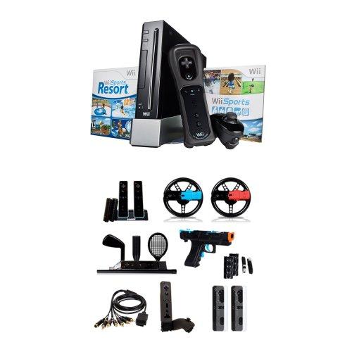 Nintendo Wii Console - Black - with Mega Pack Bundle (Nintendo Wii)