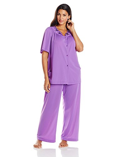 Shadowline Women's Plus-Size Petals Short Sleeve Pajama laura scott womens blue check pajamas lightweight short sleeve pajama set