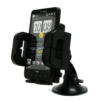 EMPIRE LG Optimus 2 / Nitro HD / Extravert / Esteem Adjustable Car Windshield Mount (Black) [EMPIRE Packaging]