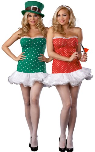 DreamGirl Women's Struck By Luck Reversible Cupid/Leprechaun Adult Costume