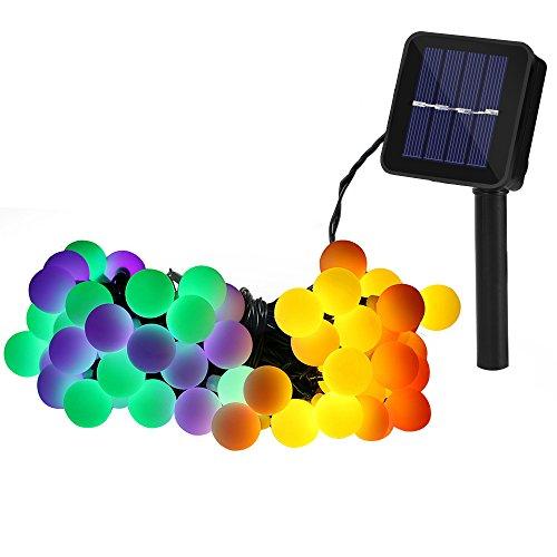 Illuminazione Balcone, Serie di Luci da Esterno 60 Palla LED Catene Luminose ad Energia Solare da 10M, Illuminazione per Giardino, Luce Solare per Esterni, Adatta a Feste, Festività Natalizie (Multi)