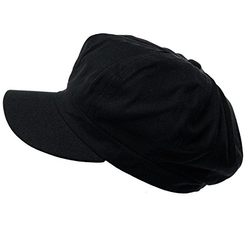 Summer 100% Cotton Plain Blank 6 Panel Newsboy Gatsby Apple Cabbie Cap Hat Black (Six Panel Hat compare prices)