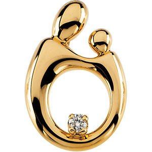 The Kids Collection 14K Two-Tone Gold Puffed Girl with Bow on Left Engravable Charm Pendant