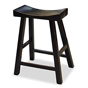 Amazon Com Hand Crafted Asian Zen Elmwood Bar Stool