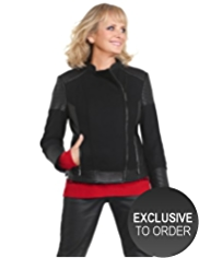 Twiggy for M&S Collection Wool Blend Biker Jacket with Leather Panel