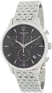 Tissot Men's T063.617.11.067.00 Silver Stainless-Steel Swiss Quartz Watch with Black Dial