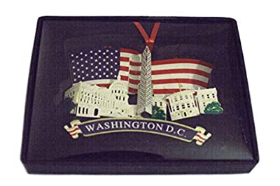 American Flag Christmas Ornament with Washington DC monuments - Great Stocking Stuffer!!