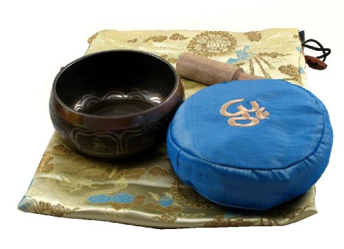 Tibetan Singing Bowl Ivory Bag with a Blue Pillow Gift Set