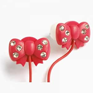 WCI Kids Crystal Phones - Cute Pair Of Quality Stereo Earphones With Inset Crystal Stones On Bow Design - Connect To iPod, iPhone, Droid, Blackberry, MP3 Player And All 3.5mm Audio Devices - For The Fashion Loving Child - Magenta