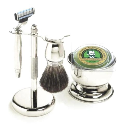 Colonel Conk Model 196 5-Piece Chrome Mach 3 Shave Set, Includes Razor, Badger Brush, Stand, Bowl and Soap