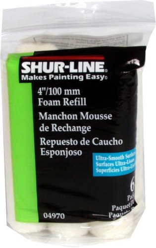 Shur-Line 04970C 4-Inch Foam Mini Roller Refills, Contractor Pack of 6
