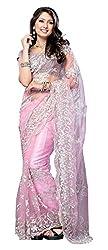 Viraja Fashion Ista Women's Net Saree (Pink)