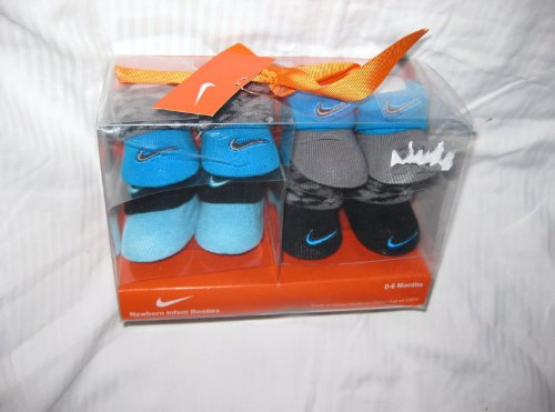 4-pairs Nike Air Jordan Booties Infant Newborn Baby Socks Crib Shoes 0-6m Baby Holiday Christmas Gift Blue