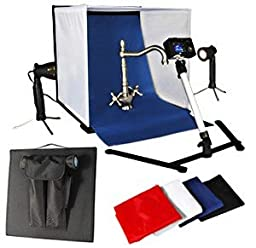 KAEZI 16-Inch Photo Studio Tent In a Box Light Cube - 1 Tent, 2 Light Set, 1 Stand, 1 Case