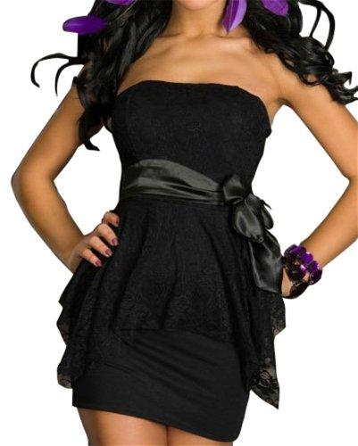 sexy trägerlose Spitze Rohrmantel, figurbetonten Stretch- Clubwear Partykleid schwarz Sexy Club-Wear Cocktail Abendkleid Kleid Damen Kleider