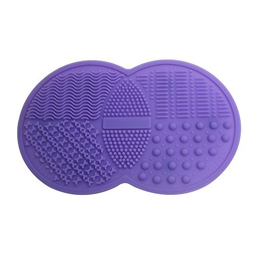 Happy Hours - Mini Double Round Silicone Gel Makeup Brush Cleaner Pad / Cosmetic Brushes Washing Scrubber Board Cleaning Mat Tool with Suction Cup Function for Homeuse and Travel(Purple)