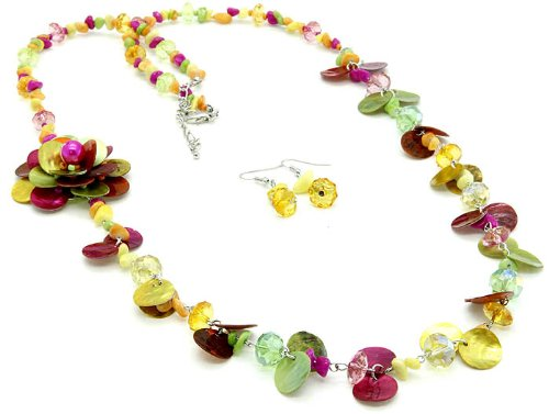 NECKLACE AND EARRING SET BEAD SHELL MULTI Fashion Jewelry Costume Jewelry fashion accessory Beautiful Charms