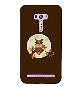 Printvisa Animated Owl With Brown Background Back Case Cover for Asus Zenfone Selfie::Asus Zenfone Selfie ZD551KL