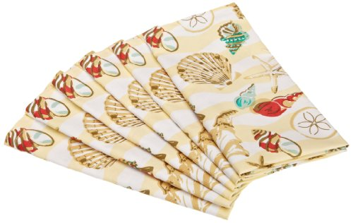 DII Seashore Sea Shells Printed Cloth Napkin, Set of 6
