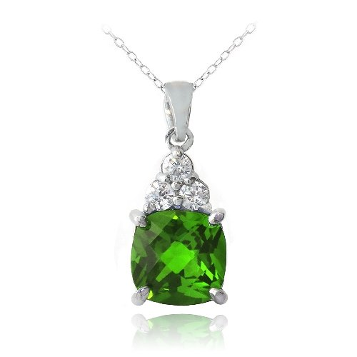 Sterling Silver 1.2ct Created Emerald CZ Top Cushion Cut Necklace