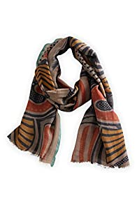 Asian Eye Tigress Wool/Silk Fair Trade Hand Crafted Scarf (Black/Orange)