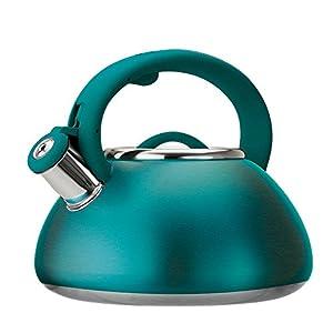 Primula Avalon Stainless Steel Whistling Tea Kettle, 2.5-Quart, Matte Teal