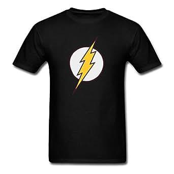 Amazon.com: Men's Flash Logo Funny Cotton T-Shirt Tee Black Medium